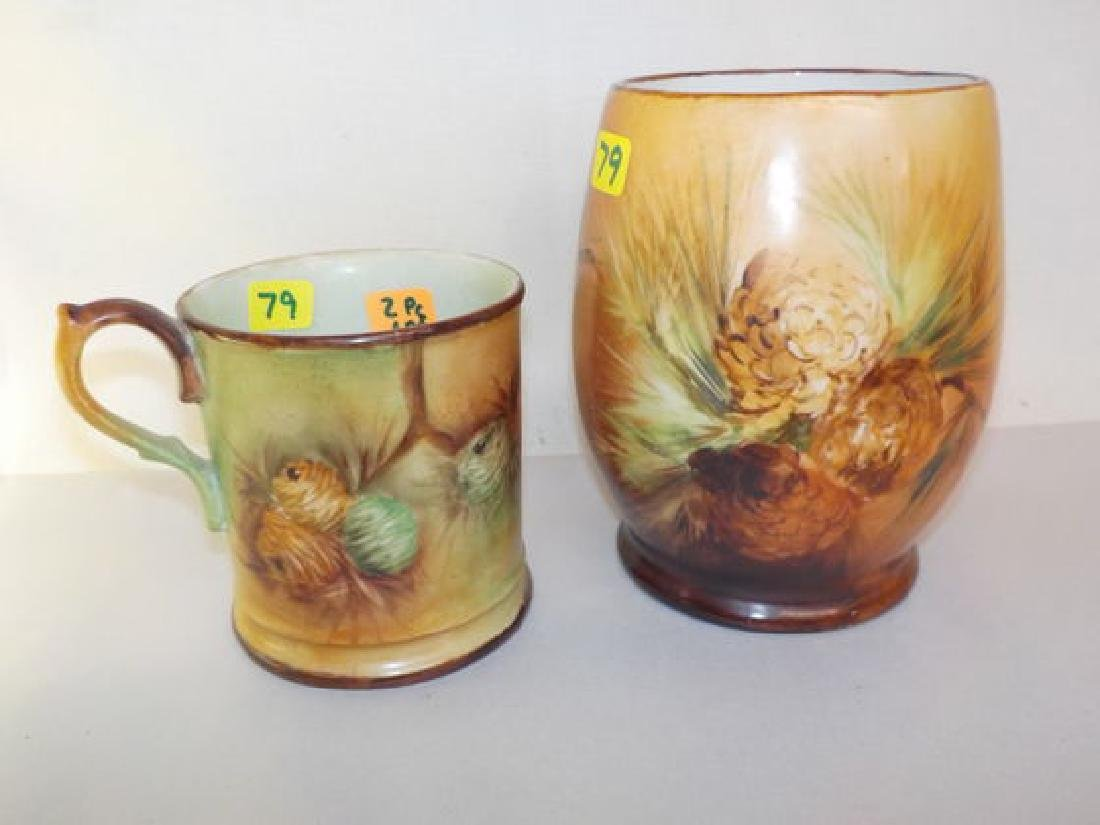 "two mugs w/ handpainted pinecones 5"" H Made by: JPL &"