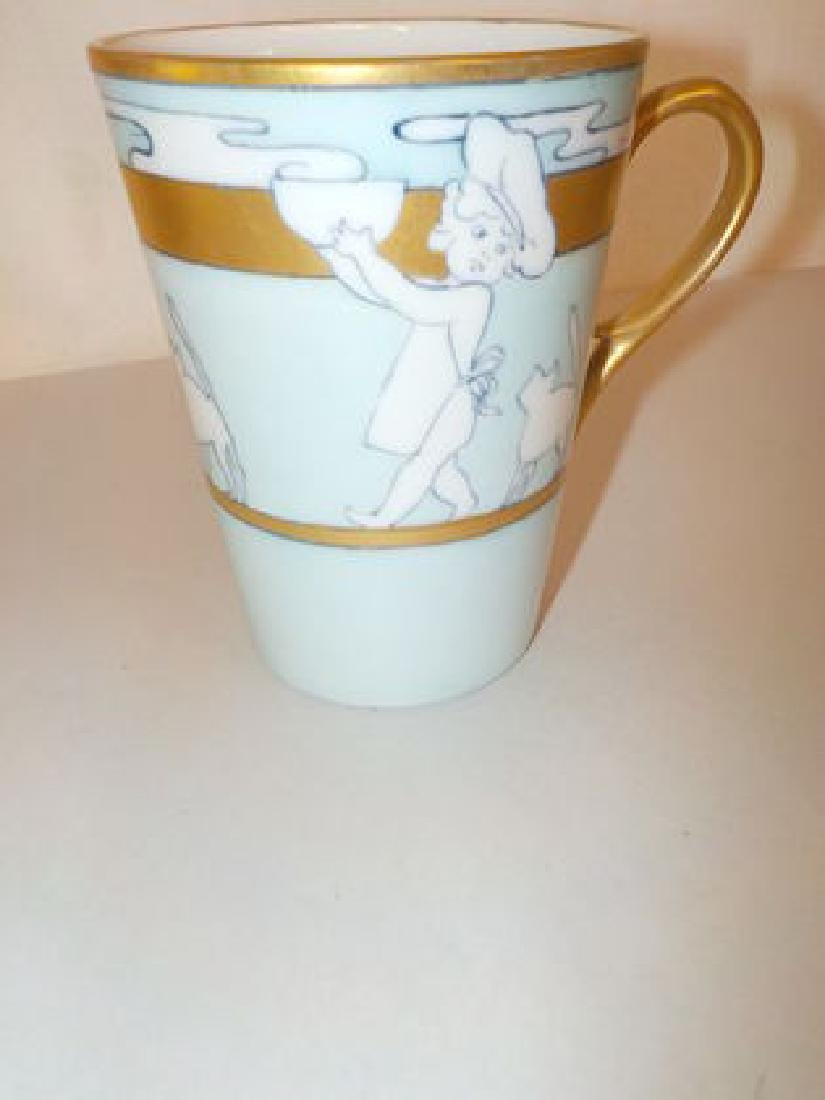 "Childs cup w/ young child & cat  4"" H Made by: William - 2"