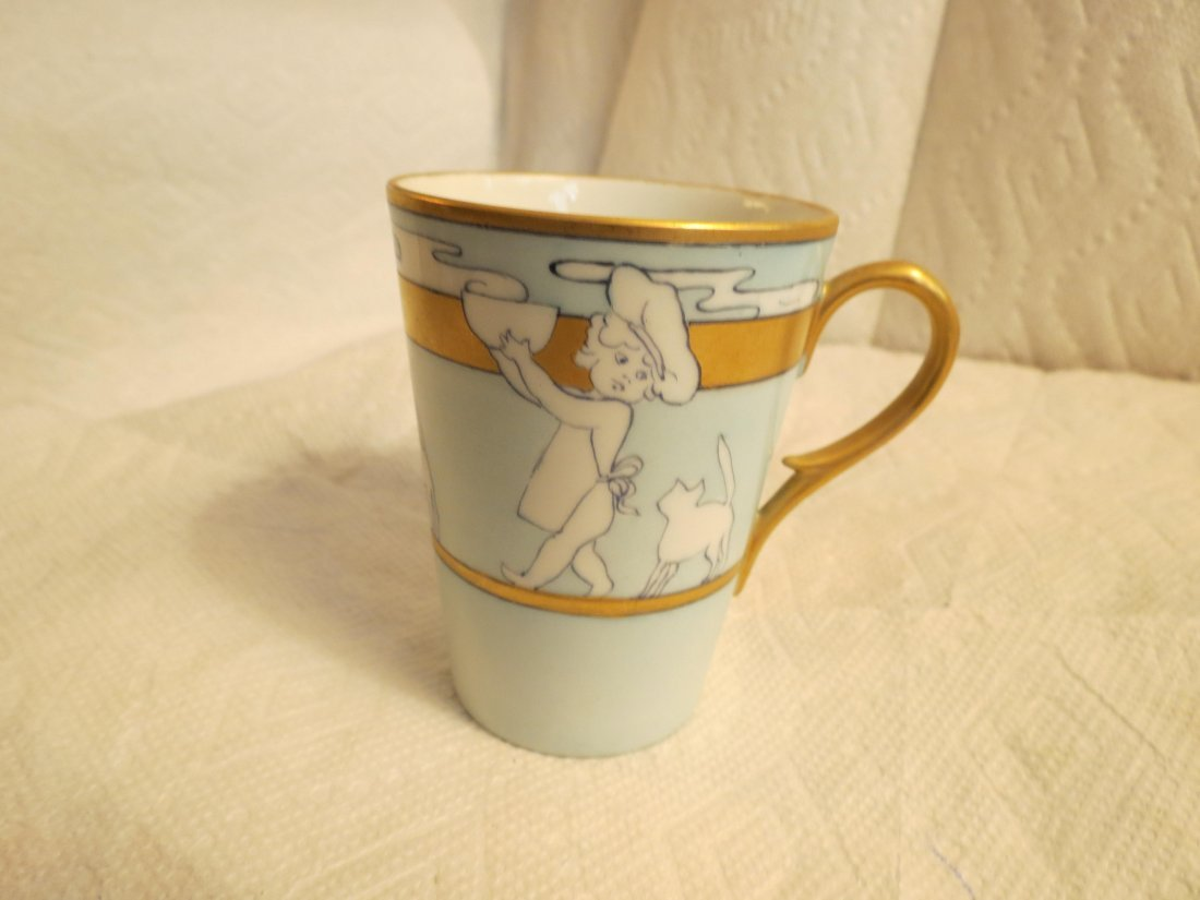 "Childs cup w/ young child & cat  4"" H Made by: William - 3"