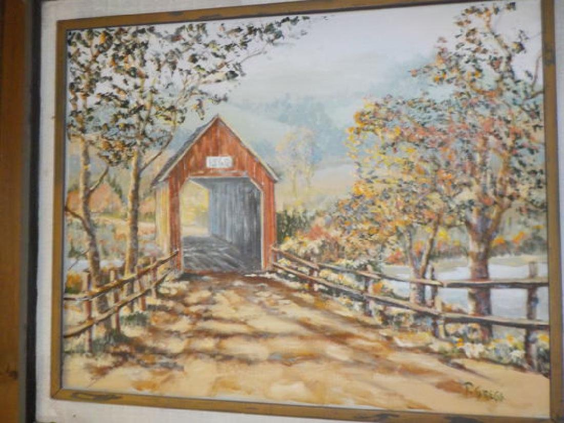 "Francis Gregg o.o.c. 24""x30"" Covered Bridge in the"
