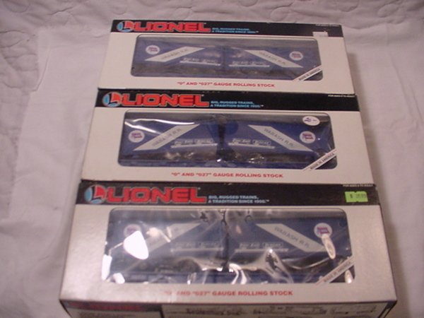 315: Lionel 16314 Wabash Flatcar Set of 3 MIB.