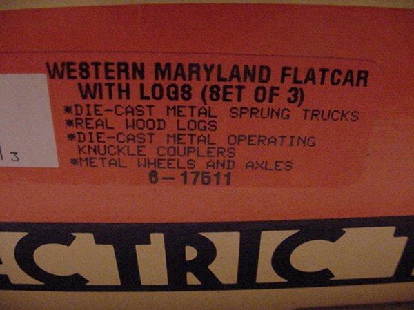 316: Lionel 17511 Western&Maryland Flatcars w/logs set