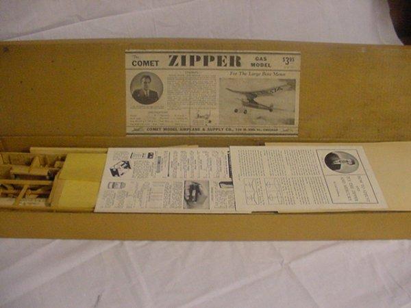 """713: Comet """"Zipper"""" Model airplane in original box.Wood"""