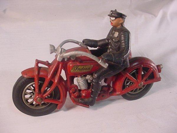 "719: Hubley Indiana Motorcycle/sidecar 8 1/2"" long."