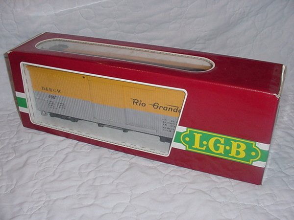 2: L.G.B. D&RGW Box Car 4067-D01 G Scale Yellow.MIB