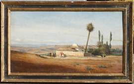 'Riders near an Oasis', by C.G. Brun (1825-1908)