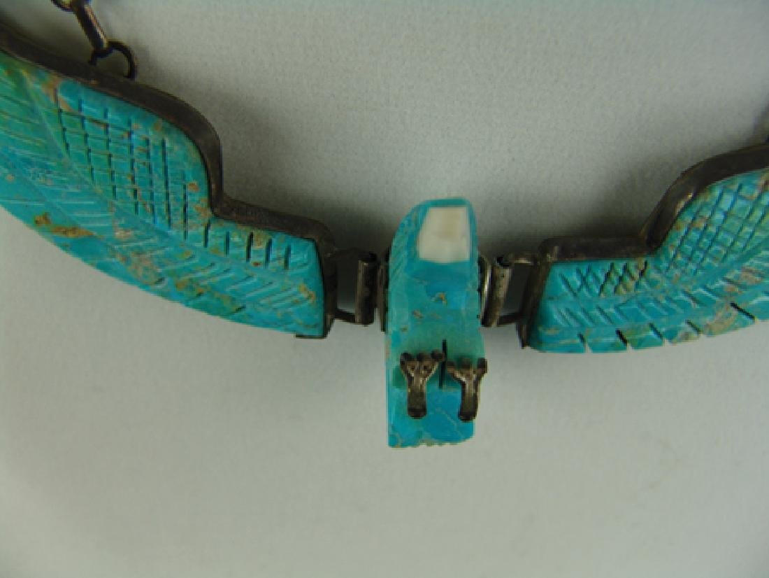 Carved Turquoise Eagle Necklace - 10