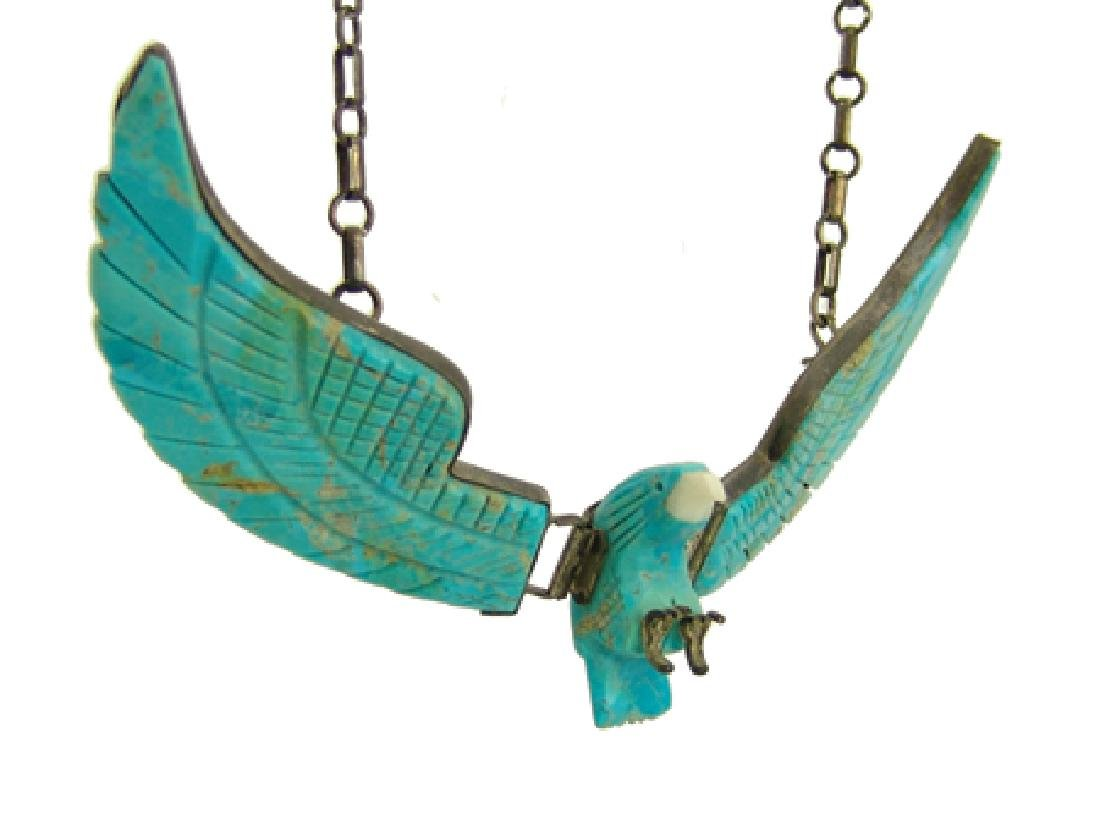 Carved Turquoise Eagle Necklace