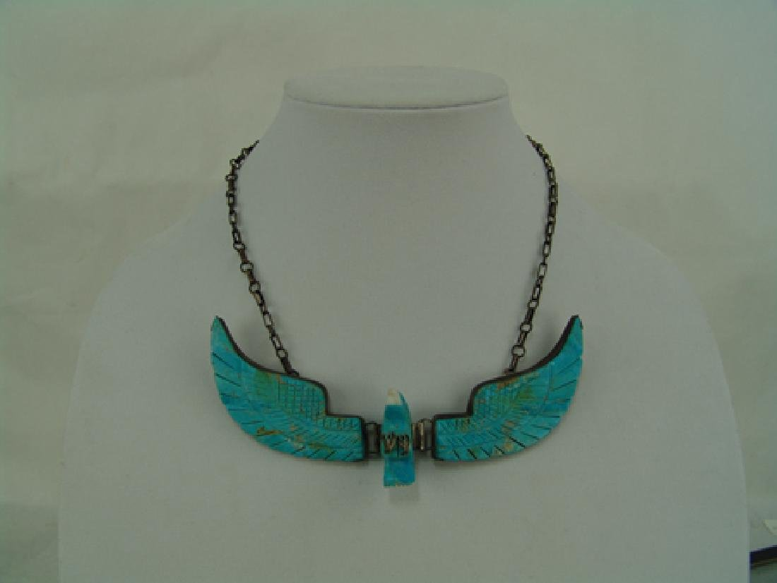 Carved Turquoise Eagle Necklace - 2