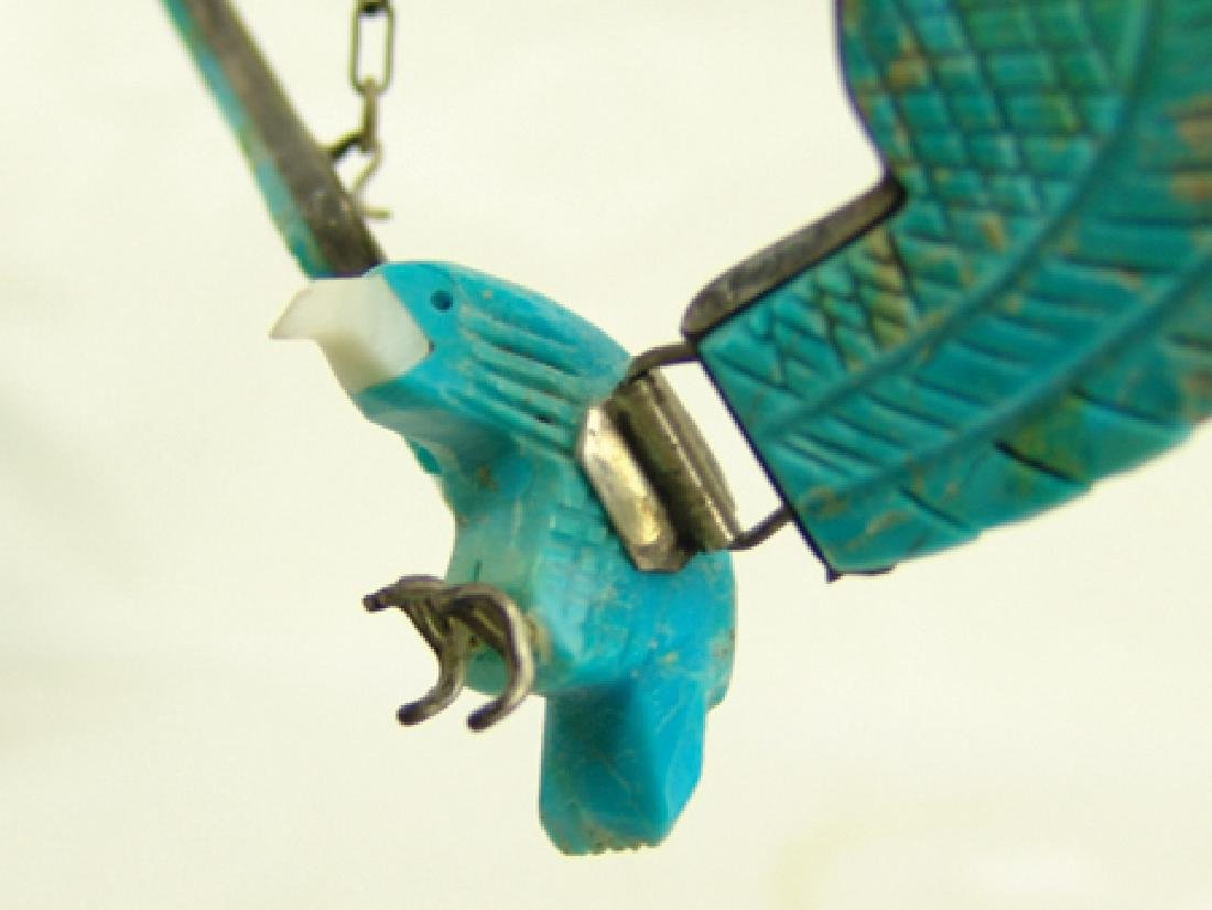 Carved Turquoise Eagle Necklace - 3