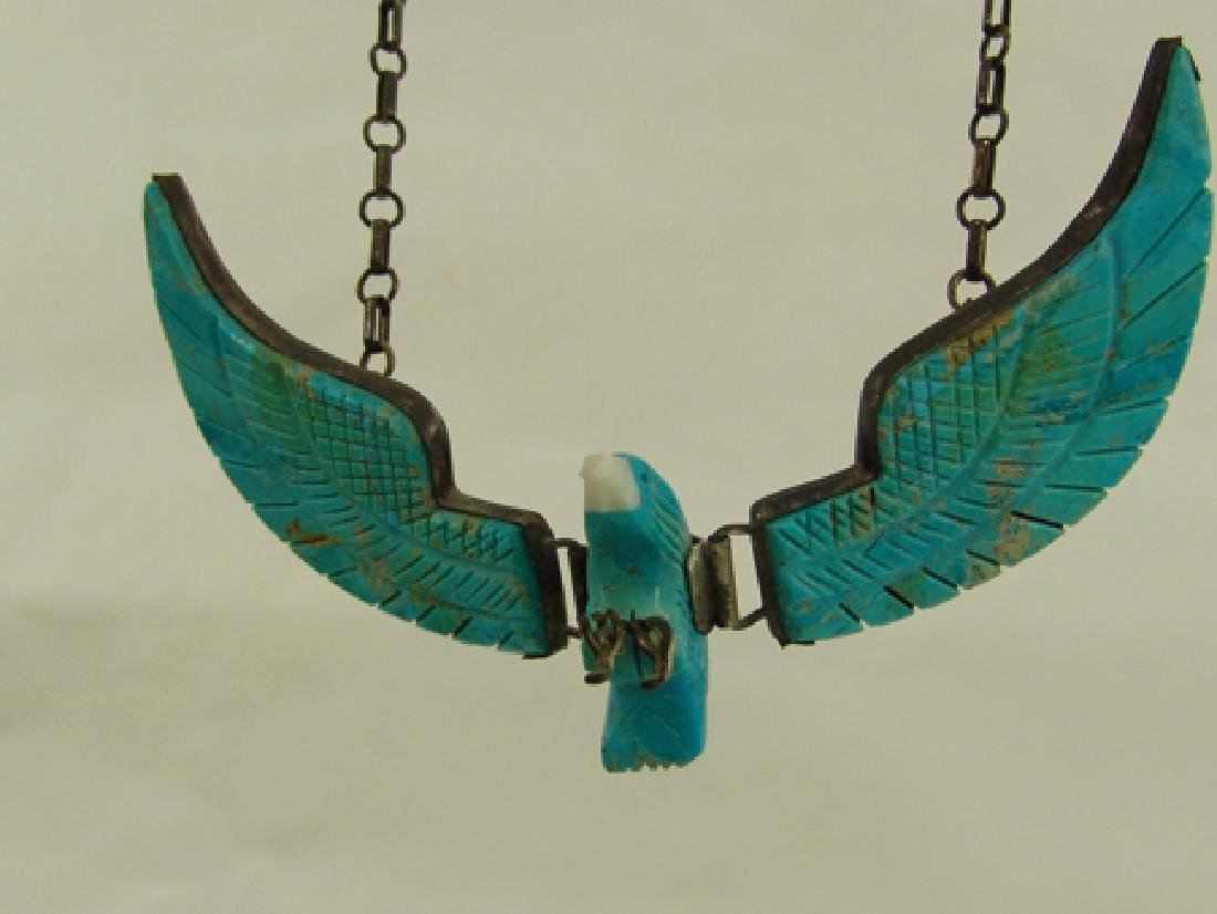 Carved Turquoise Eagle Necklace - 4
