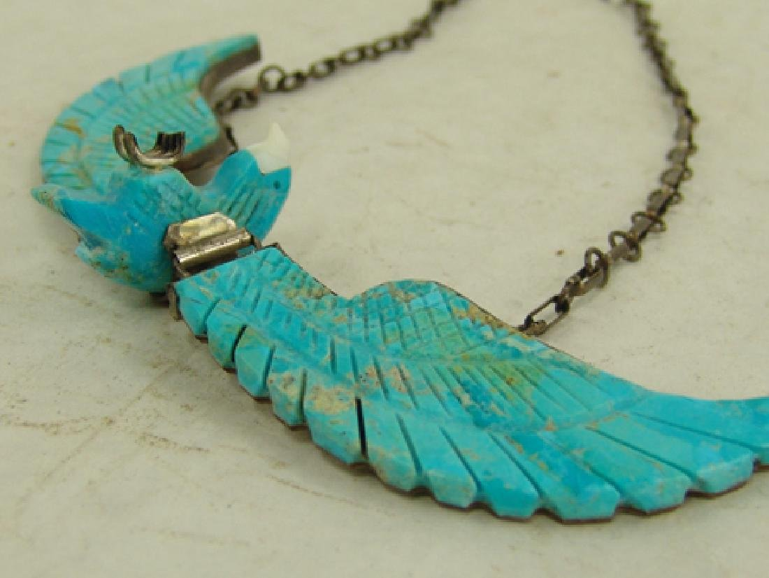 Carved Turquoise Eagle Necklace - 5