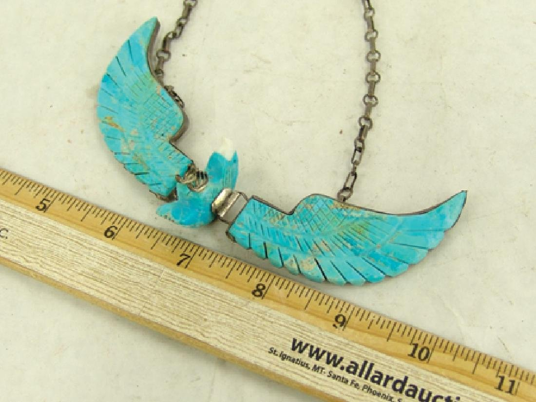 Carved Turquoise Eagle Necklace - 6