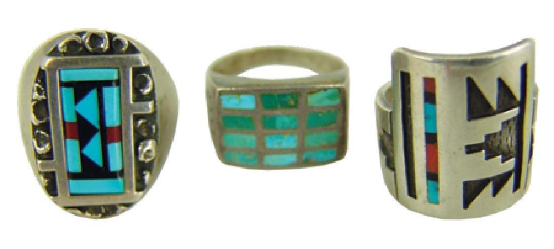 3 Vintage Inlay Rings