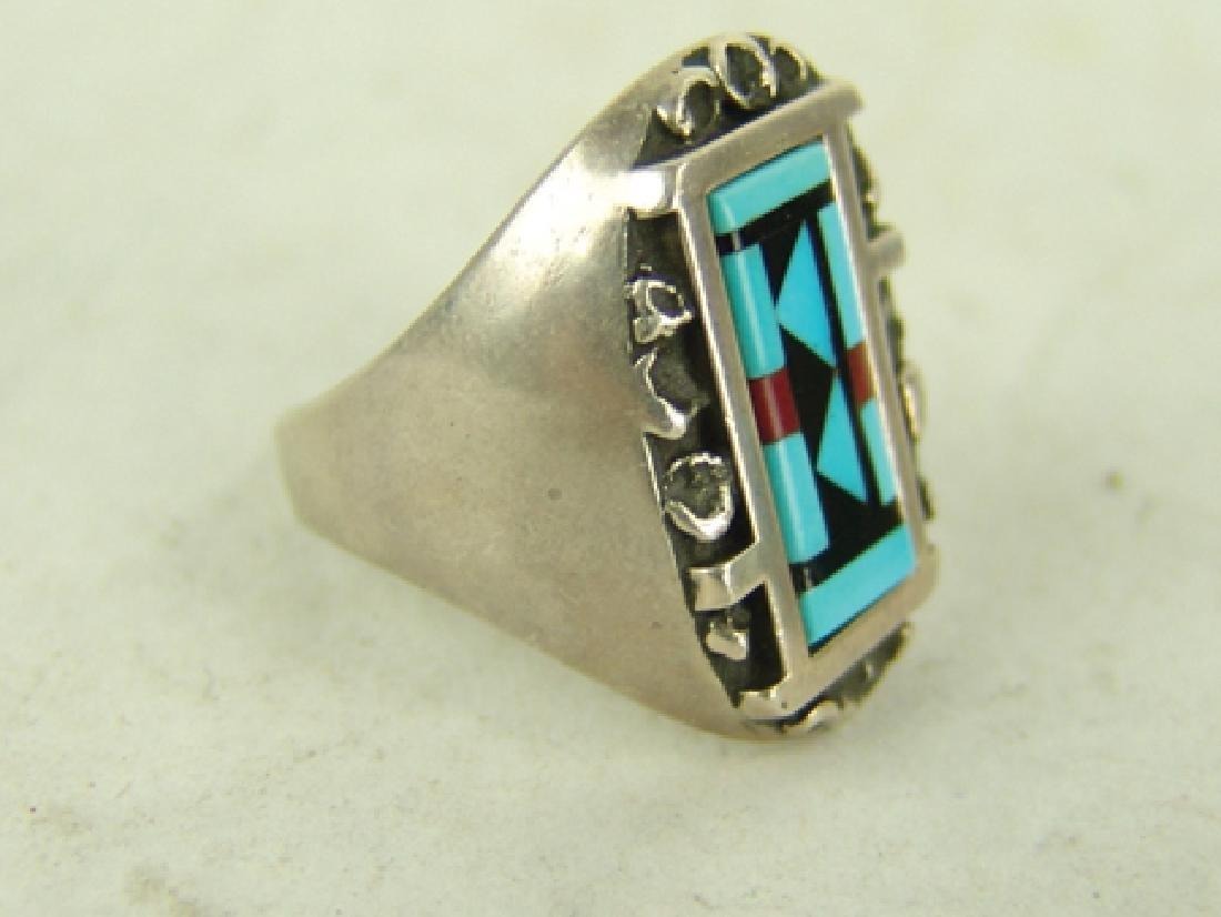 3 Vintage Inlay Rings - 7