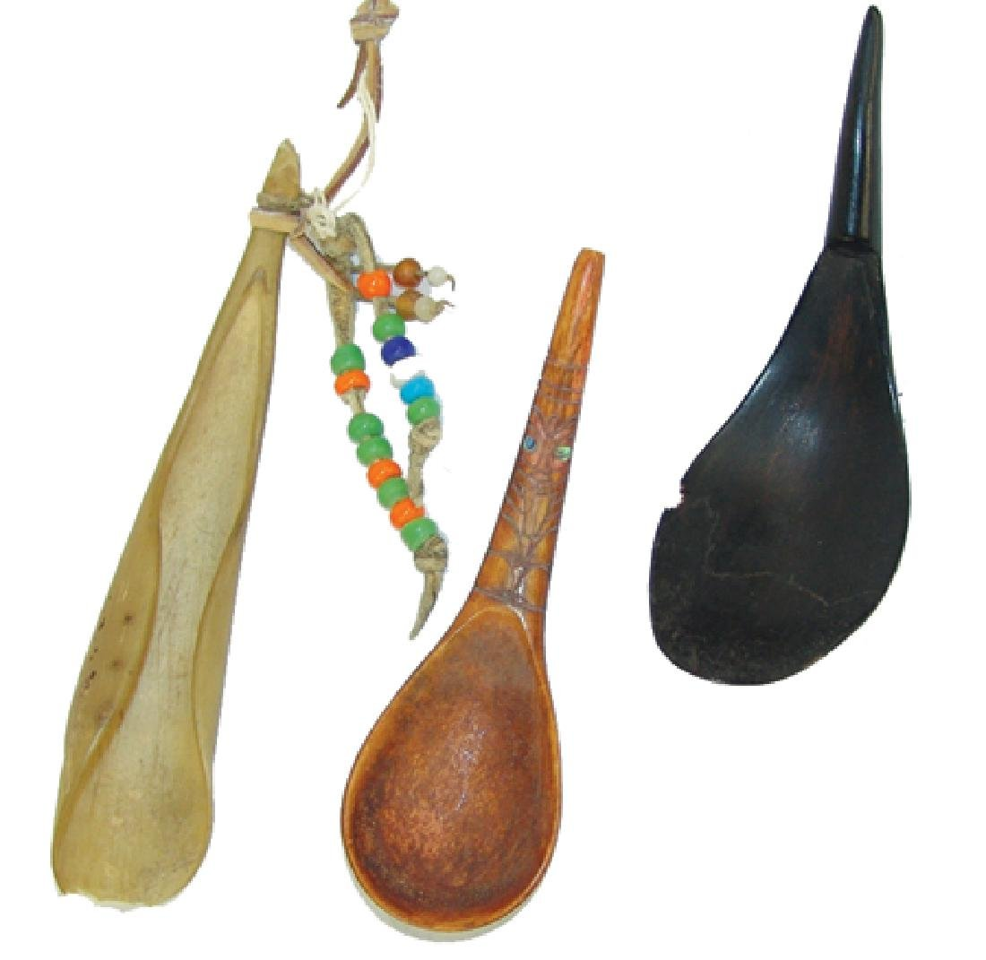 3 Antique Horn Spoons