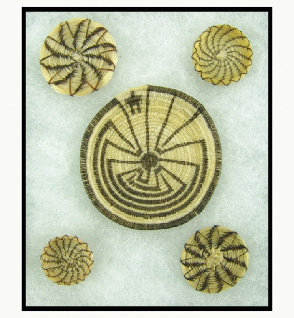 5 Papago Horsehair Baskets