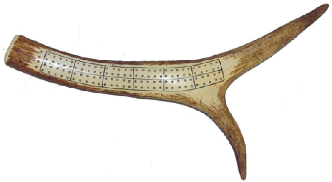 Deer Antler Cribbage Board - J.E.R.