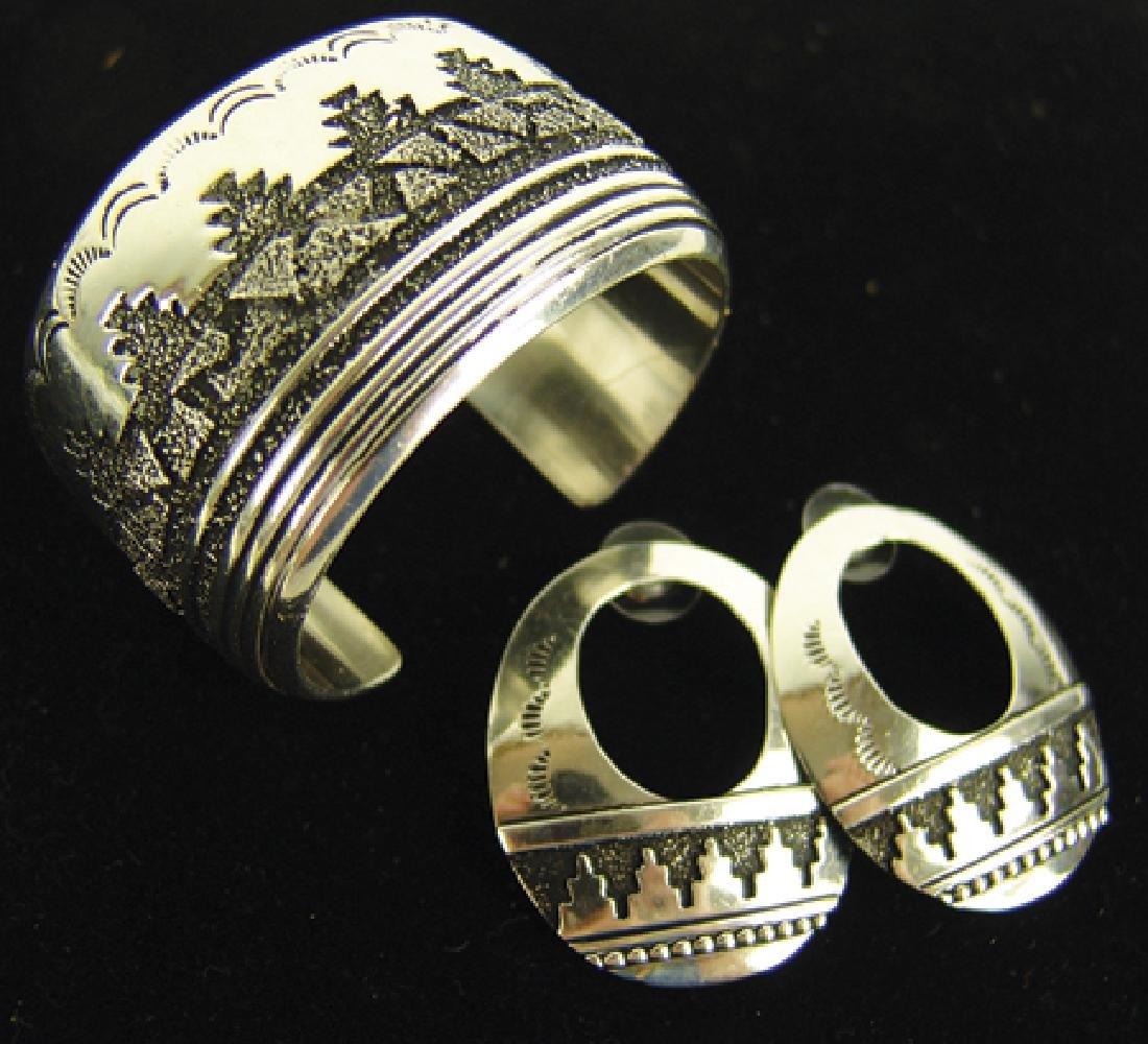Navajo Bracelet & Earrings-Tommy Singer(1940-2014)
