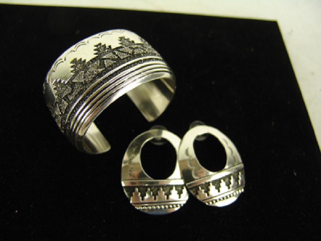 Navajo Bracelet & Earrings-Tommy Singer(1940-2014) - 2