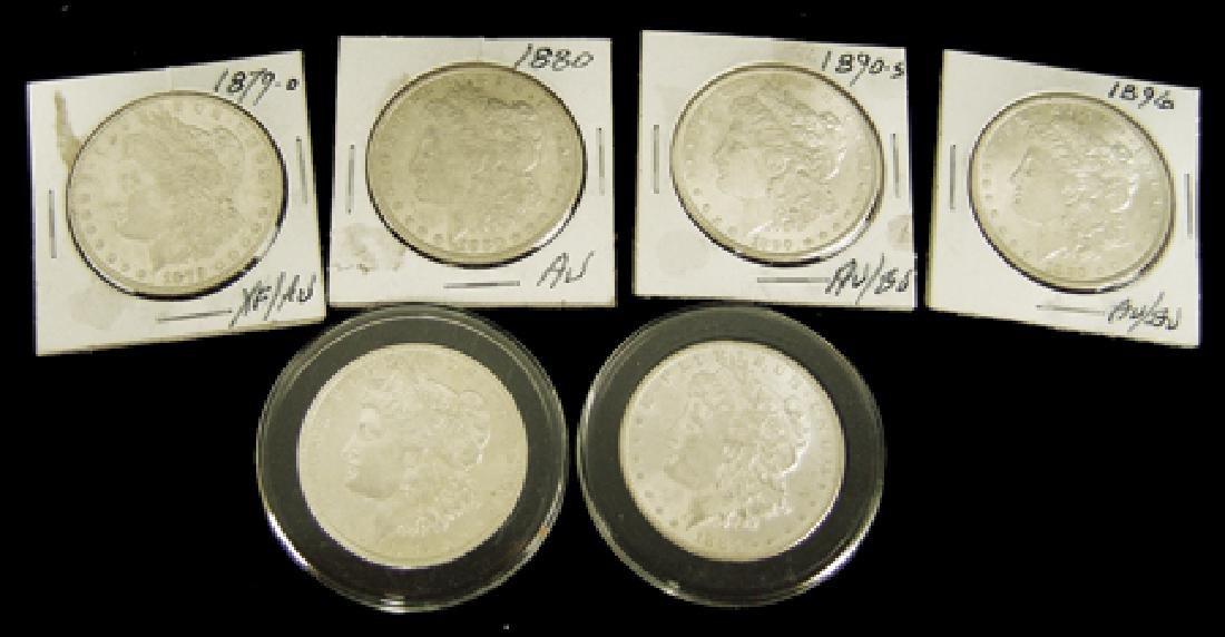 6 U.S. Morgan Silver Dollars