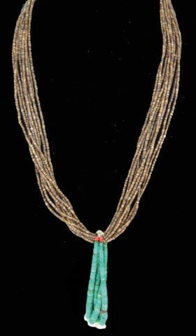 Pueblo Turquoise and Heshi Necklace