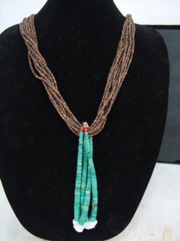 Pueblo Turquoise and Heshi Necklace - 2