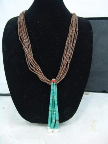Pueblo Turquoise and Heshi Necklace - 3