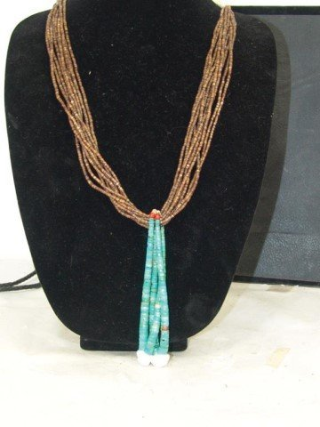 Pueblo Turquoise and Heshi Necklace - 4