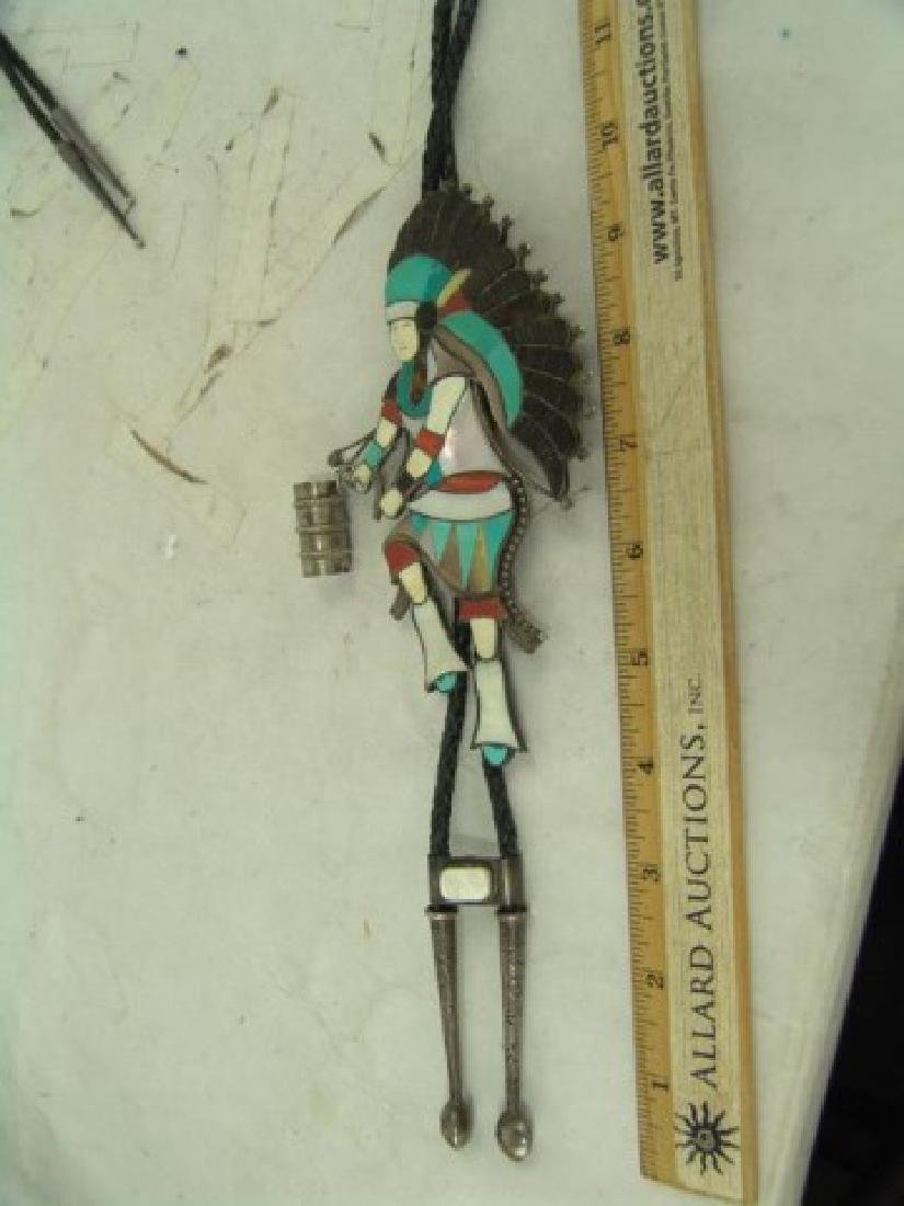 Zuni Inlay Bolo Tie - Eddie Beyuka (1920-2002) - 3