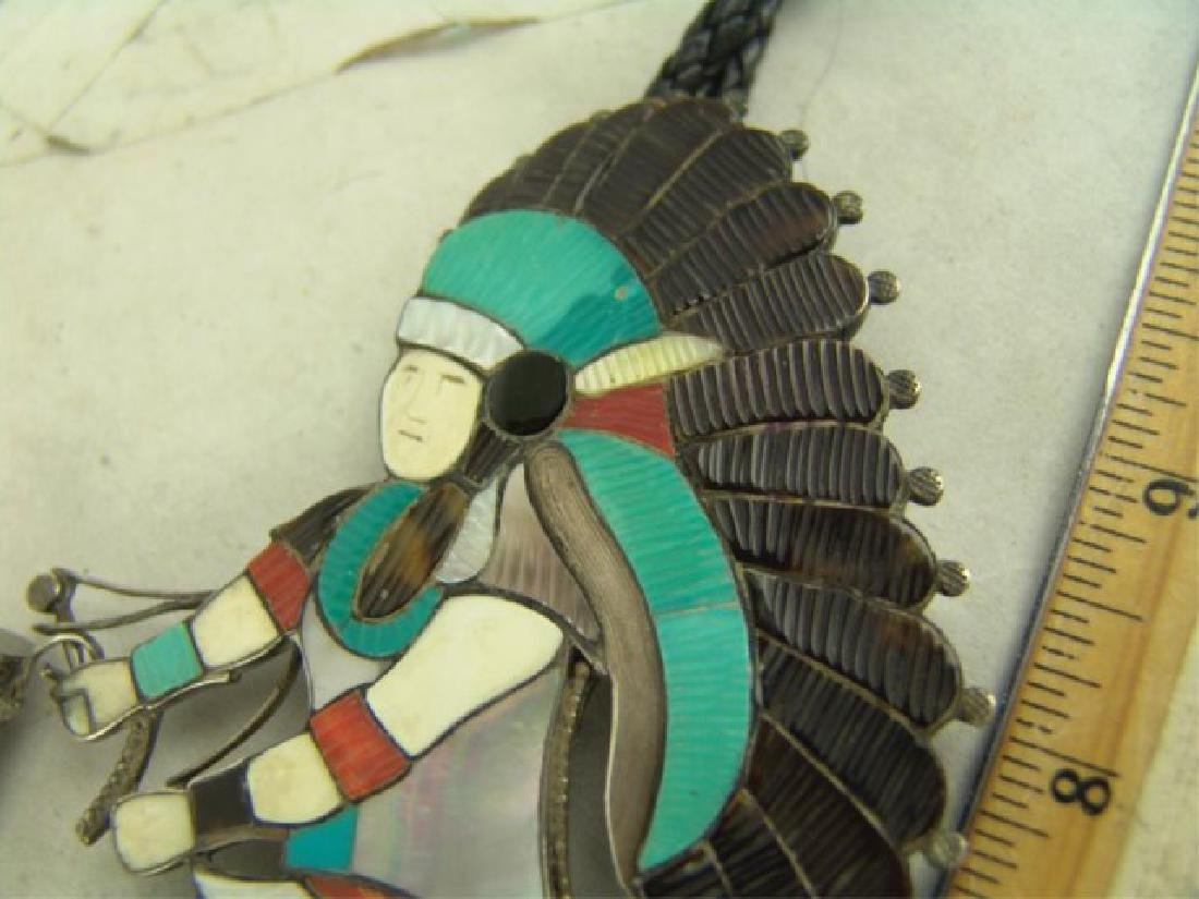 Zuni Inlay Bolo Tie - Eddie Beyuka (1920-2002) - 4