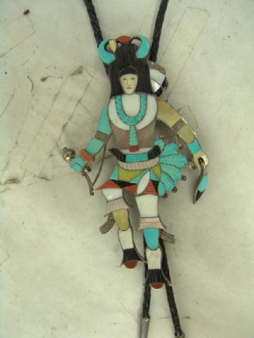 Zuni Inlay Bolo Tie - Eddie Beyuka (1920-2002) - 2