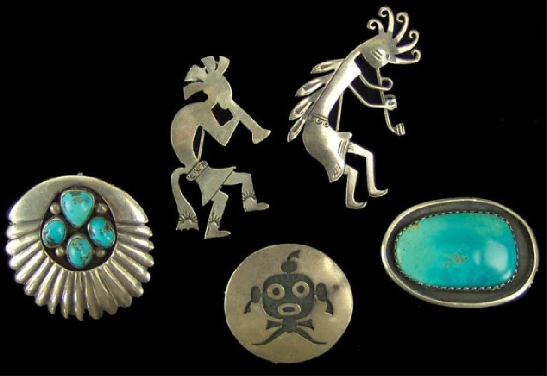 5 Navajo and Hopi Silver Pins/Pendants