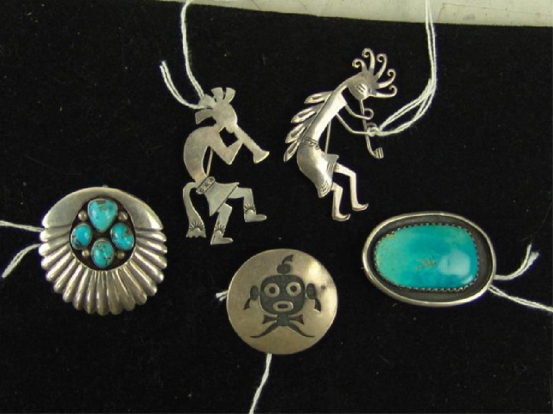 5 Navajo and Hopi Silver Pins/Pendants - 2