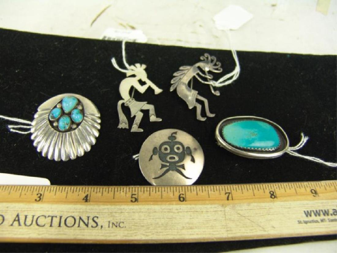5 Navajo and Hopi Silver Pins/Pendants - 3