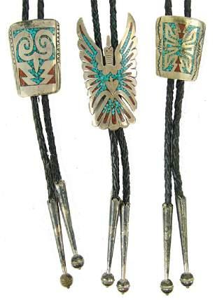3 Navajo Chip Inlay Bolo Ties