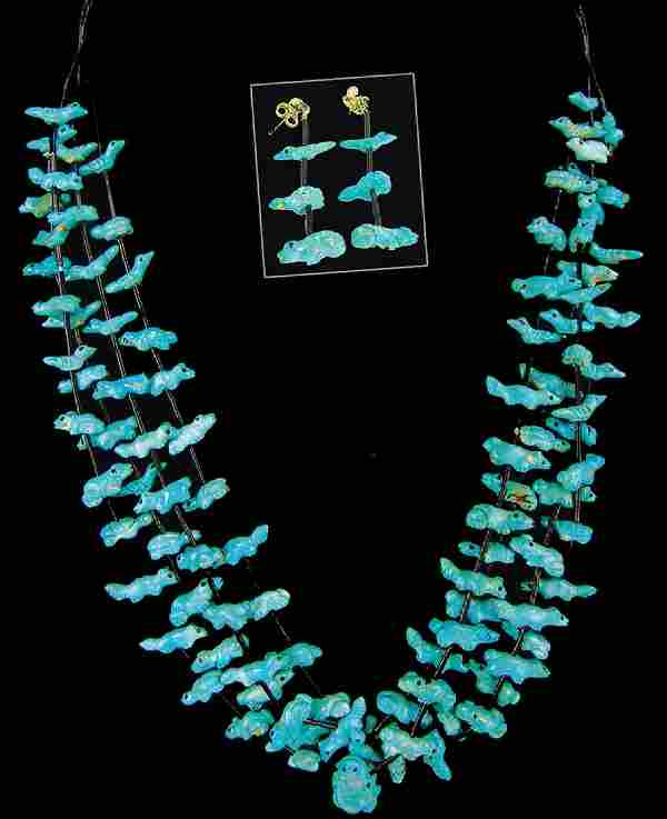 Pueblo Fetish Necklace and Earrings