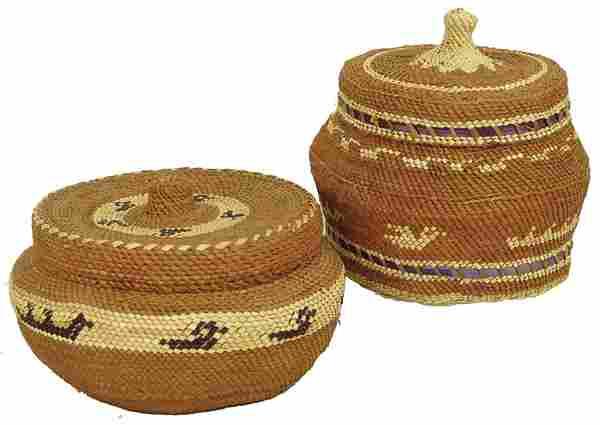 2 Makah Lidded Baskets