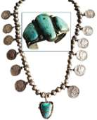 Navajo Bracelet and Dime Necklace