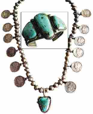 Navajo Bracelet and Dime Necklace
