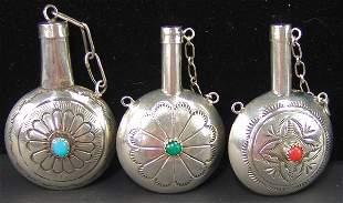 3 Navajo Silver Canteens