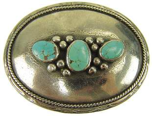 Navajo Silver and Turquoise Belt Buckle