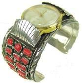 Navajo Coral Watch Bracelet - Mary Chavez