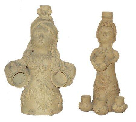 11: 2 Oaxaca Clay Figures - Teodora Blanco