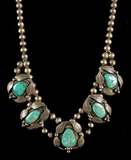 404: Navajo Turquoise & Silver Necklace