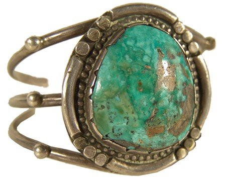 407: Navajo Turquoise and Silver Bracelet