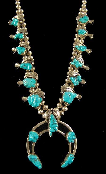 408: Navajo Squash Blossom Necklace