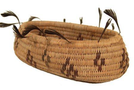 423: Pomo Feathered Boat Basket