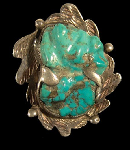 859: Navajo Carved Turquoise & Silver Ring
