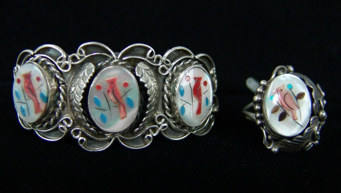 4: Zuni Inlay Ring & Bracelet Set